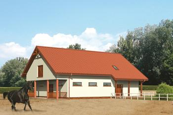 Stajnia dla 6 koni z częścią mieszkalno-rekreacyjną i poddaszem gospodarczym