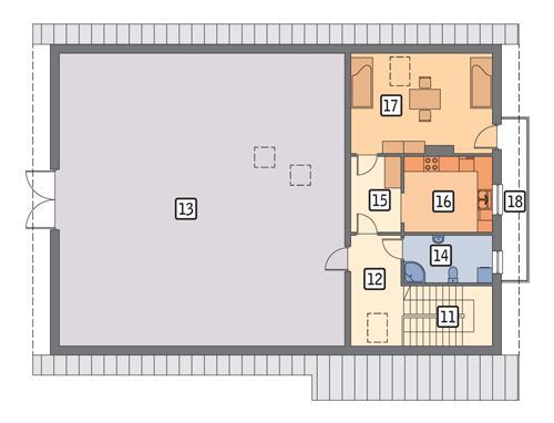 Rzut poddasza POW. 206,7 m²