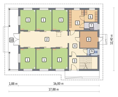 Rzut parteru POW. 162,8 m²