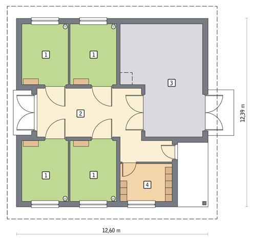 Rzut parteru POW. 117,7 m²