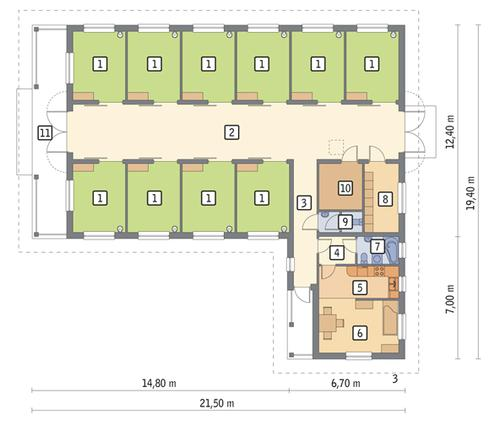 Rzut parteru POW. 236,4 m²