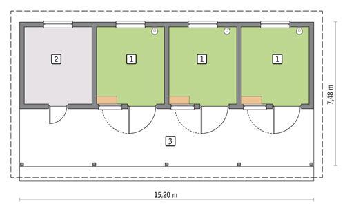 Rzut parteru POW. 112,1 m²