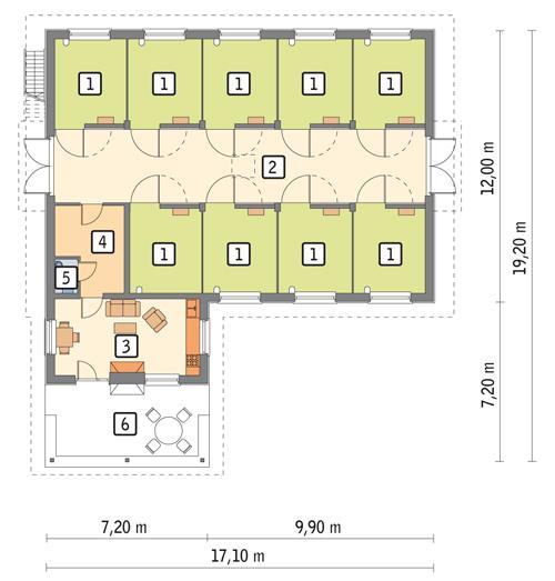 Rzut parteru POW. 190,3 m²