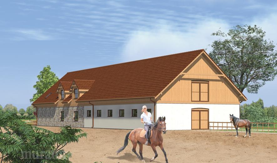 SC12 Stajnia dla 12 koni z częścią mieszkalną i poddaszem gospodarczym