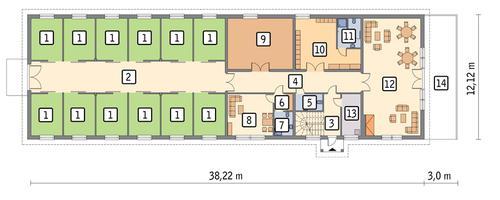 Rzut parteru POW. 383,7 m²