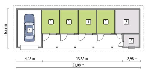 Rzut parteru lustro POW. 92,7 m²