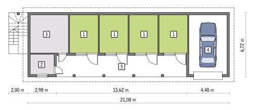 Rzut parteru POW. 92,5 m²