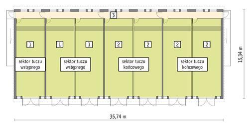 Rzut przyziemia POW. 494,4 m²