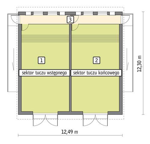 Rzut przyziemia POW. 132,9 m²