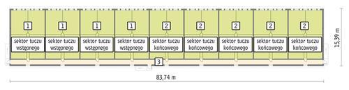 Rzut przyziemia POW. 1 170,0 m²