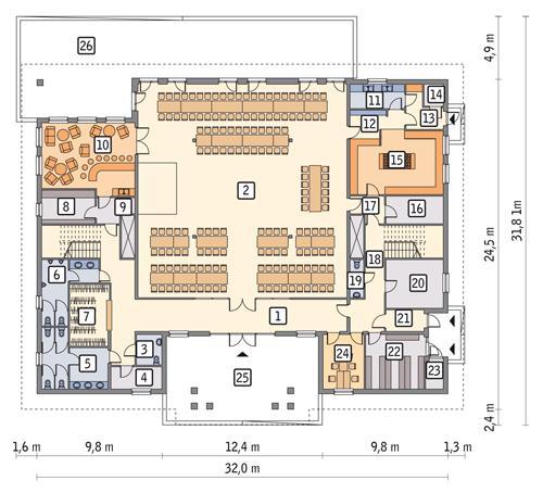 Rzut parteru POW. 610,1 m²