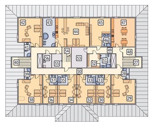Rzut poddasza POW. 664,2 m²
