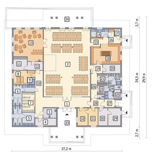 Rzut parteru POW. 561,3 m²