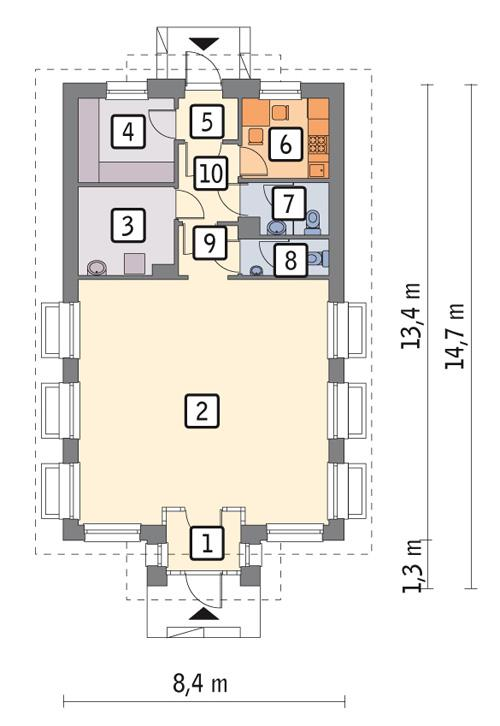 Rzut parteru POW. 86,7 m²