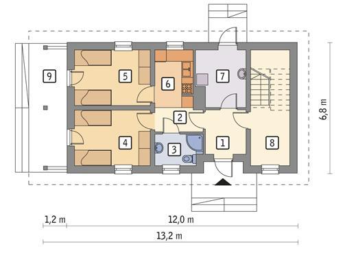 Rzut parteru POW. 59,5 m²