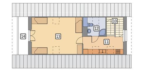 Rzut poddasza POW. 61,4 m²