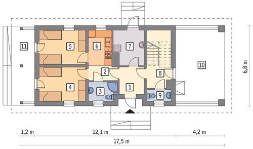 Rzut parteru POW. 58,7 m²