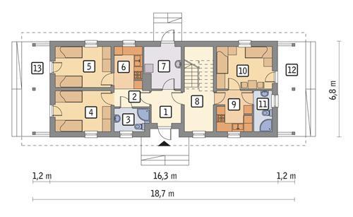 Rzut parteru POW. 81,7 m²