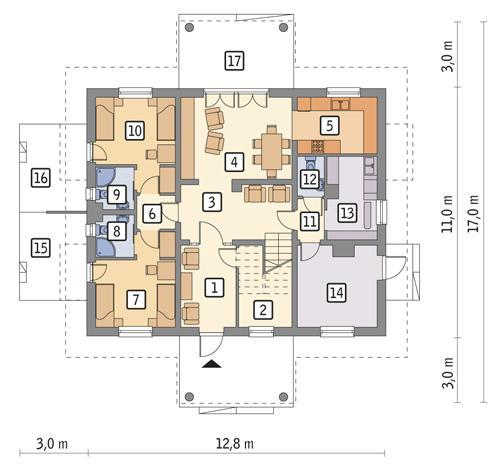 Rzut parteru: wersja podstawowa POW. 113,1 m²
