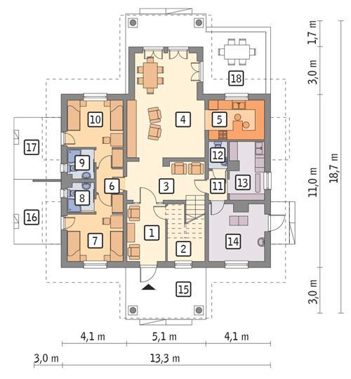Rzut parteru POW. 124,8 m²