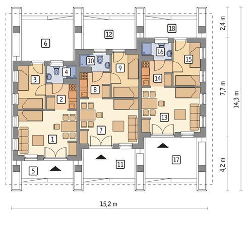 Rzut parteru POW. 88,3 m²