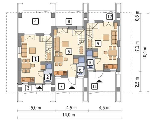 Rzut parteru POW. 76,9 m²