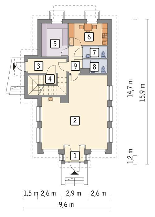 Rzut parteru POW. 98,4 m²