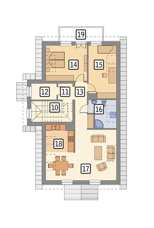 Rzut poddasza POW. 105,4 m²