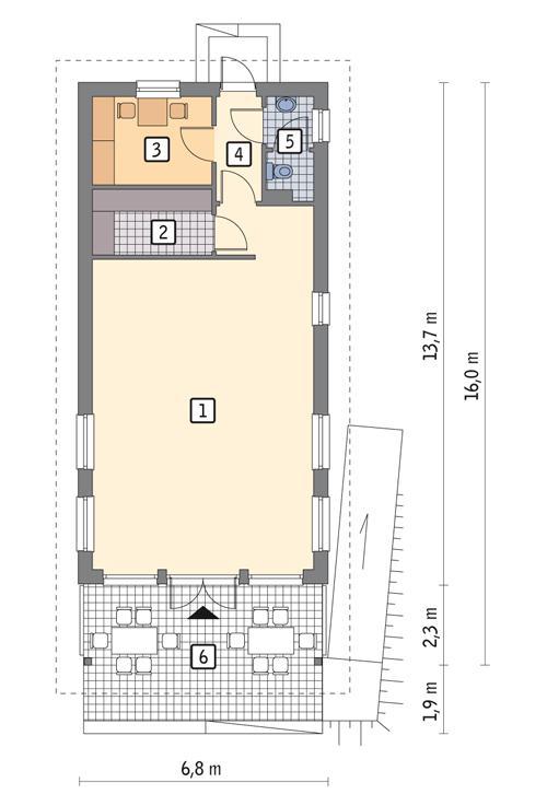 Rzut parteru POW. 74,9 m²