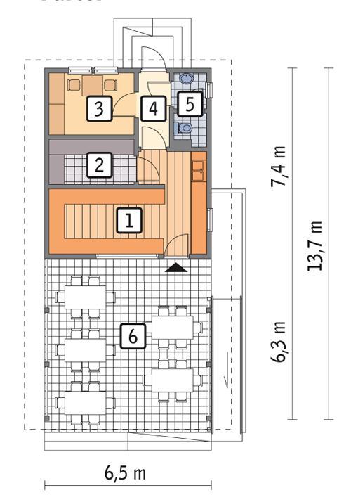 Rzut parteru POW. 39,6 m²