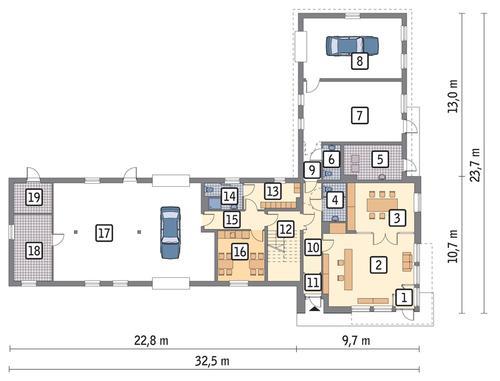 Rzut parteru POW. 335,9 m²