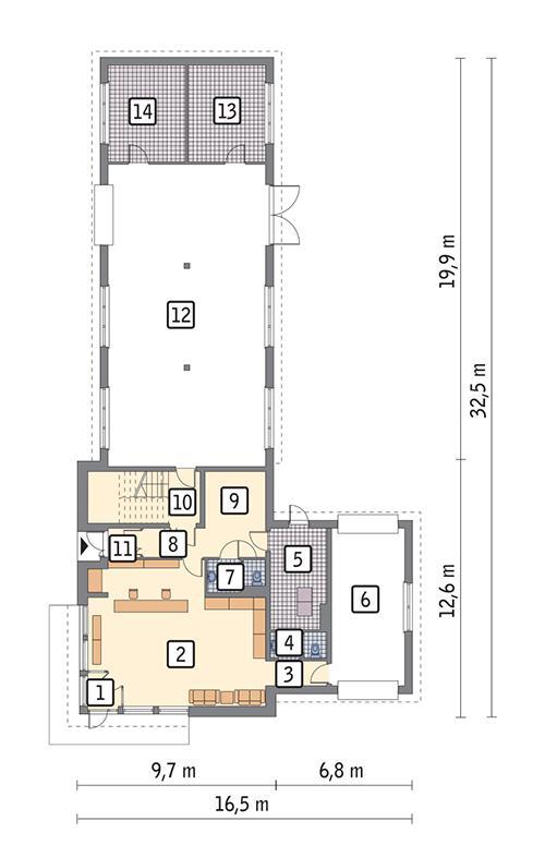 Rzut parteru POW. 290,7 m²