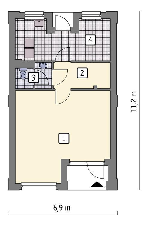 Rzut parteru: wariant 1 POW. 51,4 m²