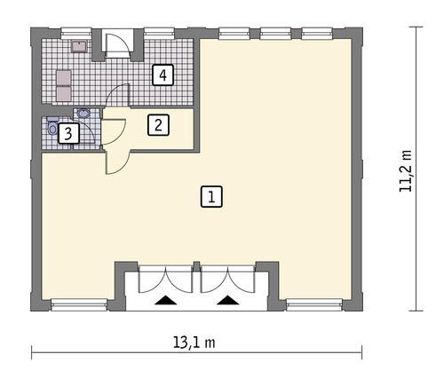Rzut parteru: wariant 1 POW. 108,6 m²