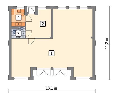 Rzut parteru POW. 107,9 m²