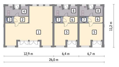 Rzut parteru POW. 210,1 m²