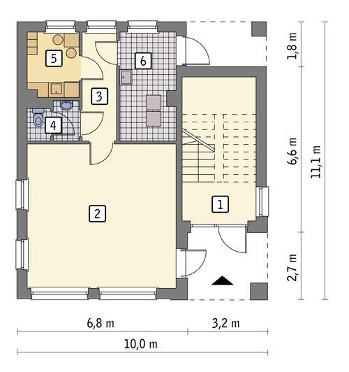 Rzut parteru: wariant 1 POW. 74,0 m²