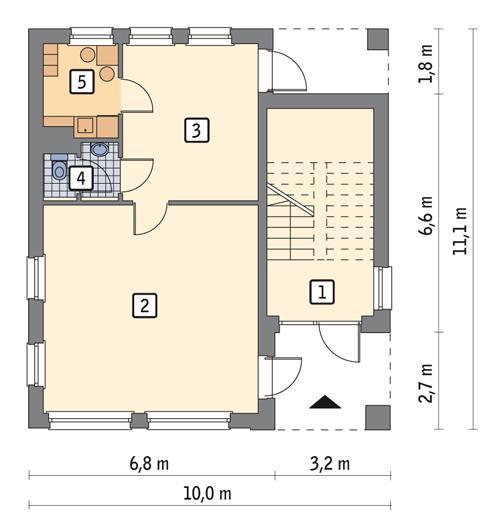 Rzut parteru POW. 74,8 m²