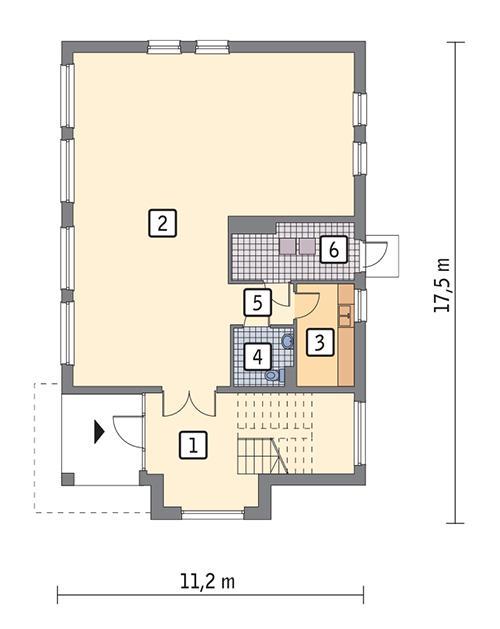 Rzut parteru POW. 145,3 m²