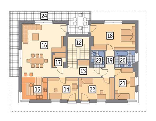 Rzut piętra POW. 165,2 m²