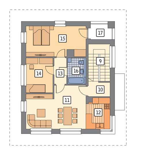 Rzut piętra POW. 78,3 m²