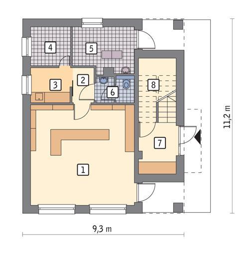 Rzut parteru POW. 69,4 m²