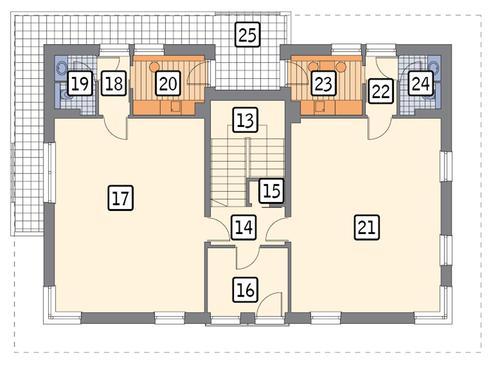 Rzut piętra POW. 142,8 m²