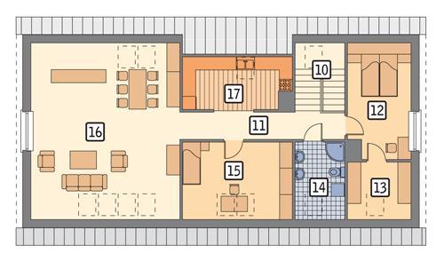 Rzut poddasza POW. 127,7 m²