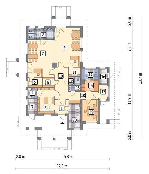 Rzut parteru POW. 192,4 m²