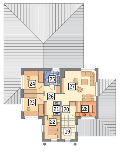 Rzut piętra POW. 91,9 m²