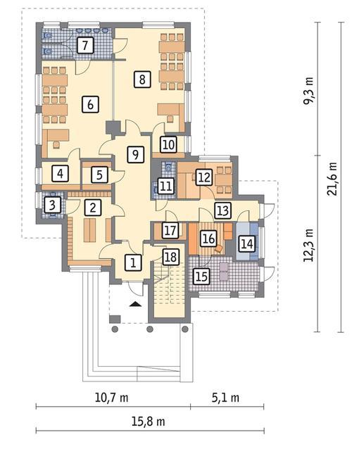 Rzut parteru POW. 189,0 m²