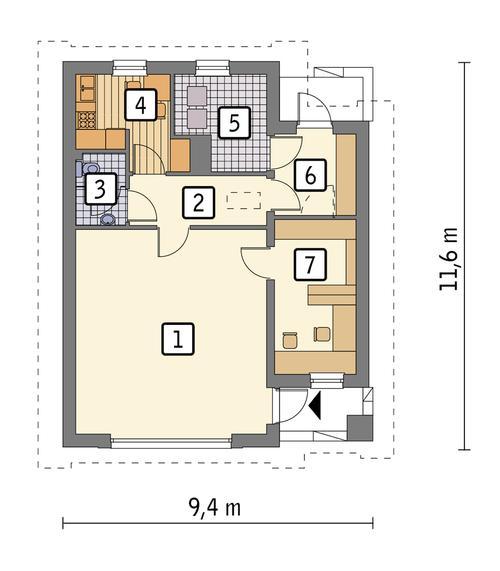 Rzut parteru: wariant 1 POW. 75,9 m²