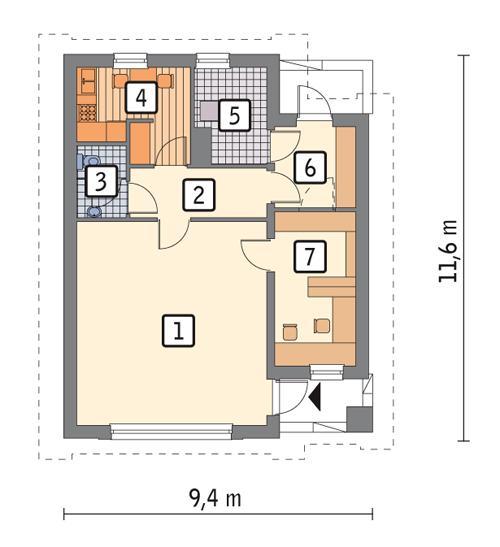 Rzut parteru POW. 75,9 m²