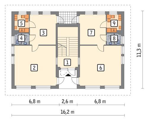 Rzut parteru POW. 134,0 m²